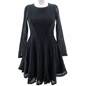 H&M (6) Mini Fit & Flare Dress Lace Long Sleeve